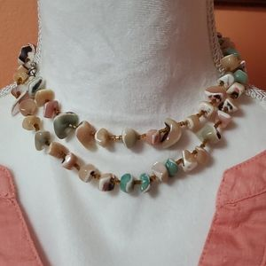Vintage Stone and Beaded Necklace